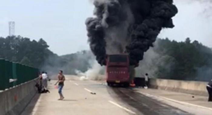 взрыв китай автобус