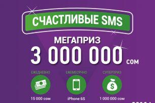 Выиграй 1 000 000 сомов в викторине «Счастливые SMS» от MegaCom