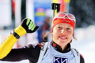 Немецкая биатлонистка завоевала 5 золотых медалей на одном чемпионате мира, из 6 возможных