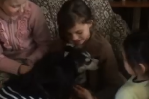 В честь 8 марта детям из приюта подарили щенка хаски