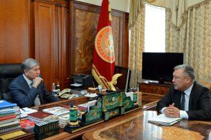 Алмазбек Атамбаев принял председателя Государственной службы миграции Медетбека Айдаралиева