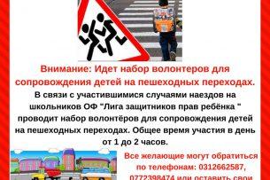 В Бишкеке набирают волонтеров для сопровождения детей на пешеходных переходах