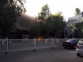 В центре города Ош горит кафе «Ак Ордо»