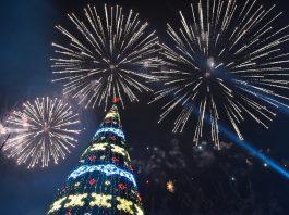 Как встречали Новый год в центре Бишкека: фоторепортаж