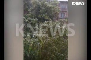 В селе Таш-Добо Аламединского района идет снег (видео)