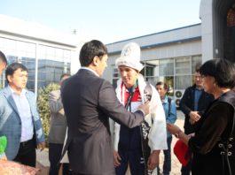 Жители Оша встретили золотого призера Азиатских игр Торокан Багынбай уулу