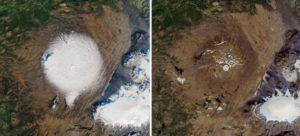 Слева ледник Окйекудль в 1986 году, справа - 1 августа 2019 года