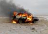 В Казахстане браконьеры подожгли свой Land Cruiser убегая от погони