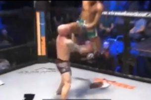 Боец MMA внезапно вырвался из партера и в прыжке нокаутировал соперника. Видео