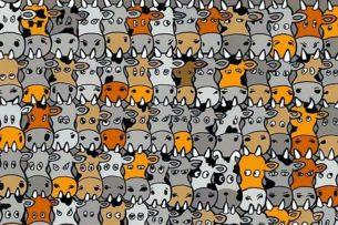 Среди коров есть собака, но найти ее может только один из десяти человек. Картина -головоломка