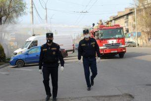В рамках дезинфекции и обработки Бишкека были перекрыты ряд улиц