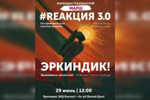 В Бишкеке проходит марш REакция 3.0. Участники выступают против законопроекта о манипулировании информацией
